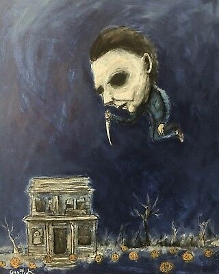 ORIGINAL art artist GUS FINK Painting outsider horror lowbrow brut MICHAEL MYERS