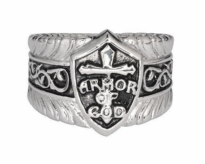 Religious Christian Stainless Steel Armor Of God Ring HEAVY METAL JEWELRY