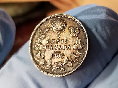1905 Silver  5 Cent Canada Choice About Uncirculated Beautiful Coin !!