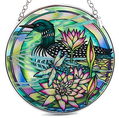 Loon Suncatcher Hand Painted Glass By AMIA Studios 4.5""