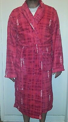 Tim Hortons Coffee Plush Fleece Bath Robe Housecoat Red Plaid Size S - M Unisex