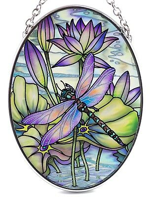 "Dragonfly Hand Painted Glass Suncatcher By AMIA Studios 4.5"" x 3.25"""
