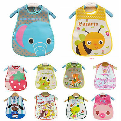 Baby Kids Boys Girls Waterproof Bibs Toddler Food Catcher Feeding Saliva Apron