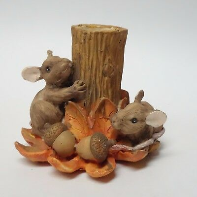 SILVESTRI Charming Tails CANDLE TAPER HOLDER Mouse Mice Figurine AUTUMN Acorns