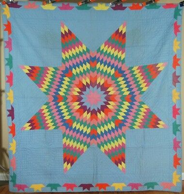 Large BEAUTIFUL Vintage Lone Star Antique Quilt ~GREAT BORDER & BLUE BACKGROUND!
