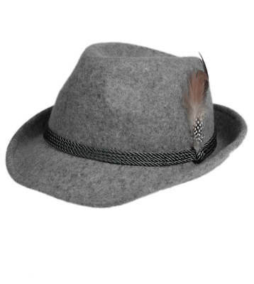 Schuhmacher Traditional Costume Hat HT750 Grey with Feather