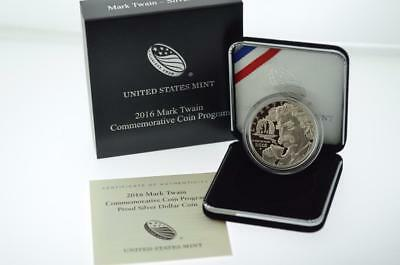 2016-P Mark Twain Proof Silver Dollar W/OGP And Coa