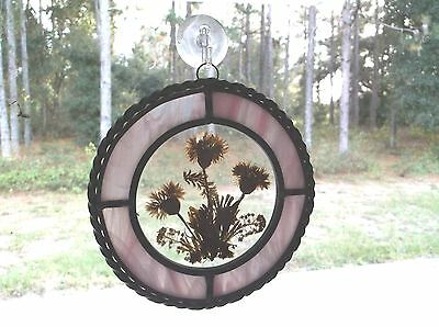Pink Stained Glass & Pressed Flowers Hanging Sun Catcher Window Hanging