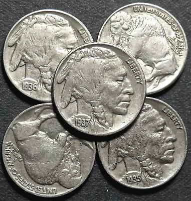 Five (5) Buffalo/indian Nickels  Full Dates. Five Coin Lot. #t55