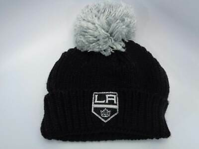 cdc1c7bd74a Los Angeles Kings NHL Reebok Black Knit with Grey Pom Hat Cap Toque Beanie  OSFA