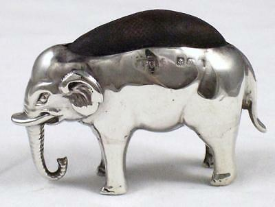 Antique 1901 Sterling Silver Novelty Elephant Shape Sewing Needle or Pin Cushion