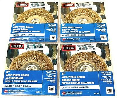"Mibro 5"" Brass Wire Wheel Brush Coarse Crimped 5/8"" Bore 1/2"" Bushing 4 Pack"