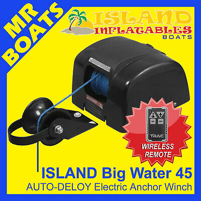 12V ANCHOR ISLAND DRUM WINCH ✱BIG WATER 45 WIRELESS REMOTE✱ AUTO-DEPLOY 22ft  FP