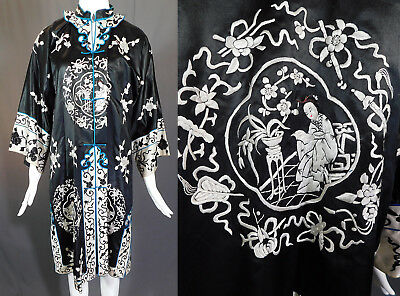 Vintage Antique Chinese Black & White Silk Embroidered Figural Long Robe Coat
