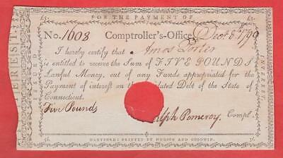 1790 5 Pound Note Comptroller's Office - CT Obsolete