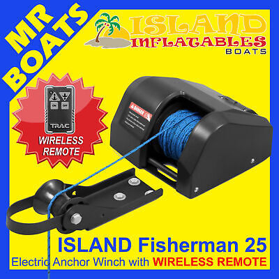 12V  ANCHOR DRUM WINCH FISHERMAN - WIRELESS REMOTE - Model 25 Boats < 20ft - 6m