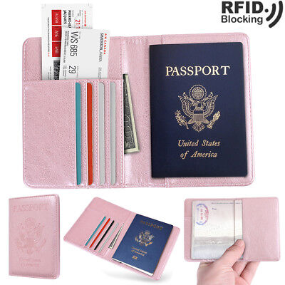 Women Travel Passport Holder Wallet RFID Blocking Leather Case Cover Cards Slot