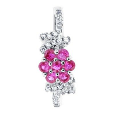 925 Sterling Silver Flower Simulated Red July Birthstone Ring Size 7