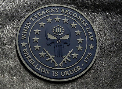 Three 3% Percenter Rebellion Tyranny Punisher Morale Patch ( 3D-PVC Rubber-MT10)