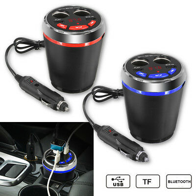 Bluetooth Car Kit FM Transmitter Wireless Cigarette Lighter 2 USB Cup Charger