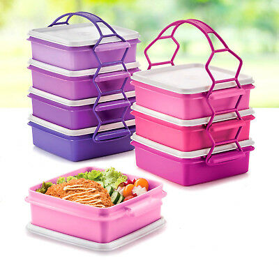 Tupperware Small Goody Box With Cariolier 790ml Set Of 4 Pink Or Purple