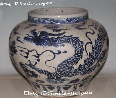 "12"" White Blue Porcelain Palace Dragon Dragons Zun Pot Jar Jug Crock Tank"