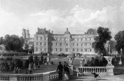 Paris, LUXEMBOURG PALACE & GARDEN POOL FOUNTAINS ~ Old 1865 Art Print Engraving