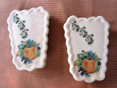 2 Vintage Wall Pocket LOT Ceramic Bud vase with Decals Flowers Fruit Apple Berry
