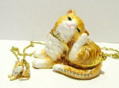 Yellow Tabby Cat Jeweled Hinged Trinket Box w Matching Pendant on Necklace