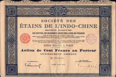 INDOCHINA  TIN MINING Soc. des Etains de L'Indo-Chine dd 1930