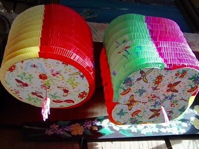 2 Vintage Tissue Paper Accordion Japanese  Lanterns  Chinese Asian Patio Decor