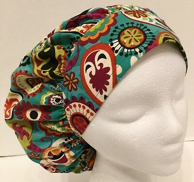 Teal Paisley Size Large Medical Bouffant OR Scrub Cap Surgery Hat