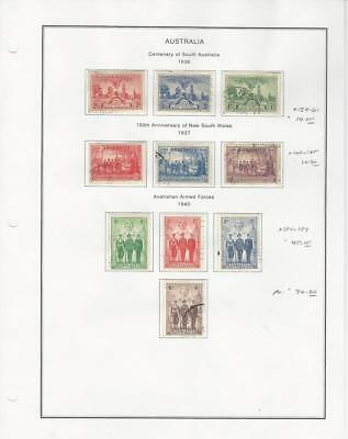 Australia Collection 1936-40 on Album Page, #159-161, 163-165, 184-187 Used