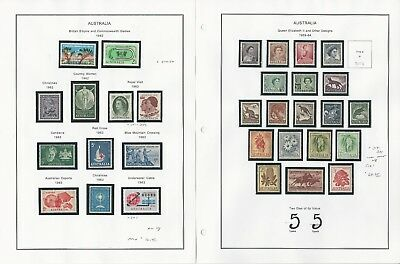 Australia Collection 1936-63 on 6 Album Pages, Mint NH Sets in Mounts
