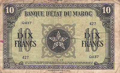 10 Francs Vg Banknote From French Morocco 1943!pick-25