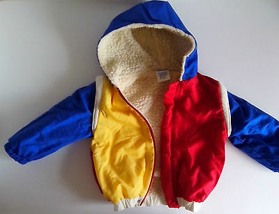 Hooded Jacket and Salopettes / trousers Red Yellow Blue  Height 90cm 1970s VInta