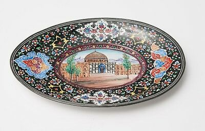 Antique/Vintage Persian Minakari Hand Painted Enamel on Metal Dish with Temple