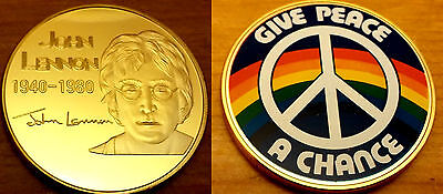 JOHN LENNON Gold Coin Beatles Give Peace a Chance CND Rainbow Autographed Signed