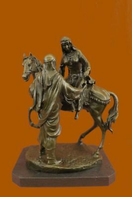 100% Solid Bronze Marble Base Arab on a Horse by French Sculptor Mene Statue Art