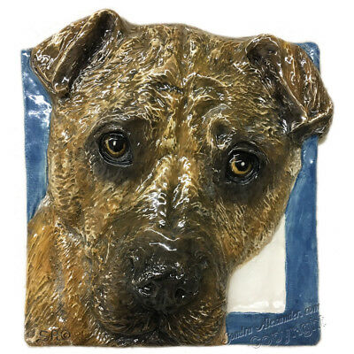 Shar Pei Dog Ceramic Tile Handmade 3d Pet Portrait Sondra Alexander Art