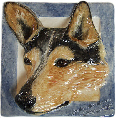 Australian Cattle Dog Tile Handmade Pet Portrait Ceramic Sondra Alexander Art
