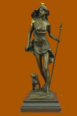 Art Deco Nouveau Stunning Bronze Nude Female Statue Diana The Huntress Lost Wax
