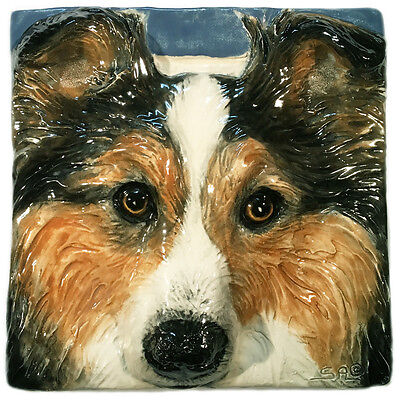 Sheltie Shetland Sheepdog Dog Ceramic Tile Handmade 3d Pet Portrait Alexander