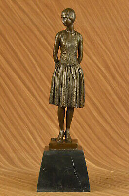 Victorian Female Lady Friend Gift Bronze Sculpture Marble Base Statue Figure