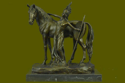Signed Amazon Girl With Horse Bronze Statue Sculpture Art Deco Figure Gift Deal