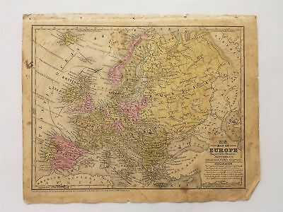1839 antique MAP of EUROPE mitchell's atlas SCHOOL FAMILY GEOGRAPHY connecticut
