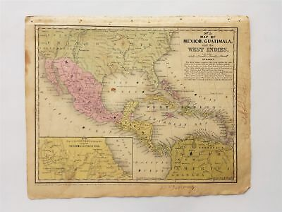 1839 antique MAP MEXICO GUATIMALA WEST INDIES amie mccall? MITCHELL'S ATLAS ct