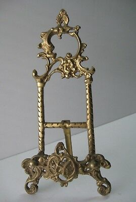 Vintage Large Ornate Brass Easel Picture Painting Plate Stand
