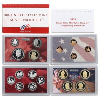2009 United States Mint Silver Proof Set - 18 Coins - Coa & Ogp
