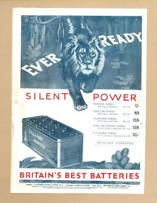 The  EVER READY WIRELESS & BRITAINS BEST BATTERIES   (1929 Advertisement)
